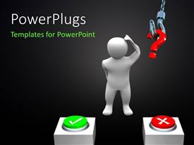 PowerPlugs: PowerPoint template with a person who is confused to select one option or the other