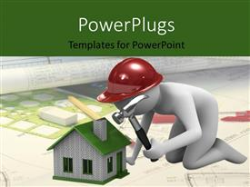 PowerPlugs: PowerPoint template with a person constructing the house with a hammer