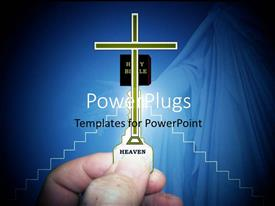 PowerPlugs: PowerPoint template with a person with a cross and a bluish background