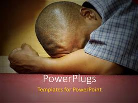 PowerPlugs: PowerPoint template with a person crying because of disappointment with yellowish background