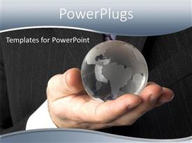 PowerPoint template displaying a person with a crystal globe and blackish background