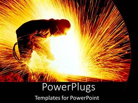 PowerPoint template displaying a person cutting steel and sparks are illuminating the whole area
