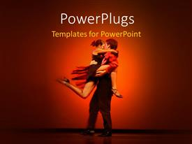 PowerPlugs: PowerPoint template with a person dancing with a girl and reddish background