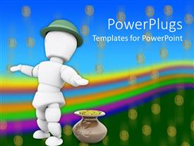 PowerPlugs: PowerPoint template with a person dancing with rainbow in the background