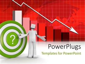 PowerPlugs: PowerPoint template with a person with a dartboard and recession sign in background