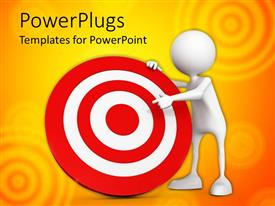 PowerPlugs: PowerPoint template with a person with a dartboard and yellowish background