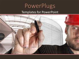 PowerPlugs: PowerPoint template with a person designing a building with him in background