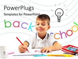 PowerPlugs: PowerPoint template with a person doing the homework with words in the background and place for text