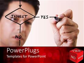 PowerPlugs: PowerPoint template with a person drawing a flowchart with a board marker