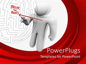 PowerPlugs: PowerPoint template with person draws straight arrow across a maze and writes break the rules