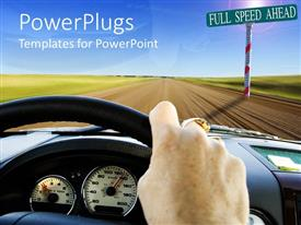 PowerPlugs: PowerPoint template with a person driving the car towards full limit on a country side road