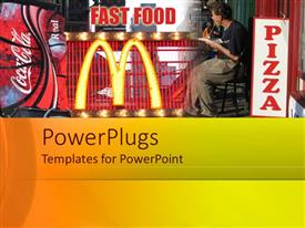 PowerPlugs: PowerPoint template with a person eating at Macdonalds with various advertisements in background