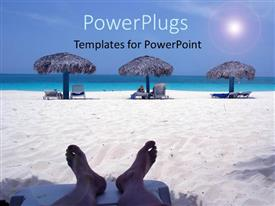 PowerPoint template displaying a person enjoying on the beach with sea in the background
