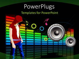 PowerPlugs: PowerPoint template with a person enjoying the music on big speakers