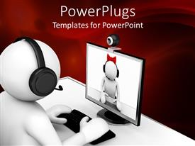 PowerPlugs: PowerPoint template with a person enjoying a video on computer
