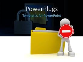 PowerPlugs: PowerPoint template with a person with a file folder and lock in background