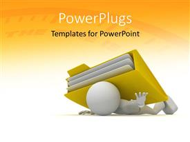 PowerPoint template displaying a person with the file folder and yellowish background