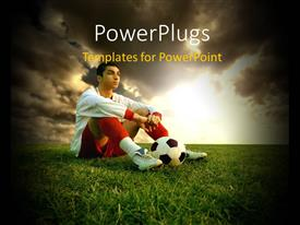 PowerPlugs: PowerPoint template with a person with a football and clouds in the background