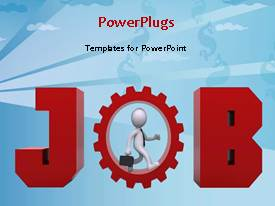 PowerPlugs: PowerPoint template with a person with a gear and bluish background