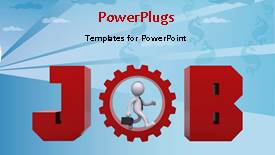 PowerPoint template displaying a person with a gear and bluish background - widescreen format