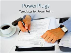 PowerPlugs: PowerPoint template with a person going to sign the papers with a cup of tea alongside him