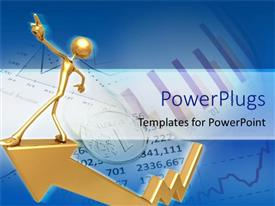 PowerPlugs: PowerPoint template with a person going on top of a growth graph