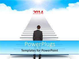 PowerPlugs: PowerPoint template with a person going towards the new year with clouds in the background