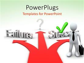 PowerPlugs: PowerPoint template with a person going towards success on a road