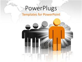 PowerPlugs: PowerPoint template with a person in golden color with map in the background