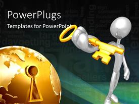 PowerPlugs: PowerPoint template with a person with a golden key and a globe with a keyhole
