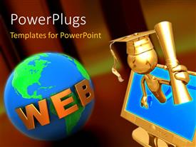 PowerPlugs: PowerPoint template with a person with a graduation degree and a globe