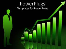 PowerPlugs: PowerPoint template with a person with a graph and blackish background