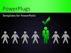 PowerPlugs: PowerPoint template with person in green selected against the rest with black color