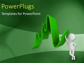 PowerPlugs: PowerPoint template with a person with a growth arrow and greenish background