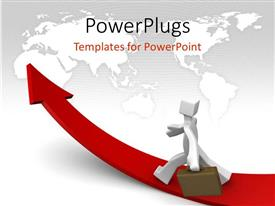 PowerPlugs: PowerPoint template with a person on the growth arrow with map in the background