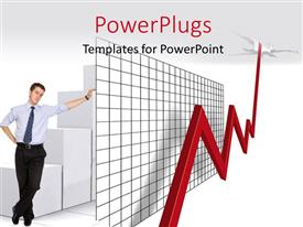 PowerPlugs: PowerPoint template with a person with a growth chart with greyish background