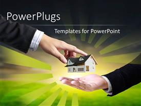 PowerPlugs: PowerPoint template with a person handing the house model to the other