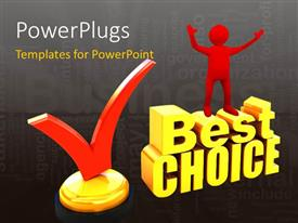 PowerPlugs: PowerPoint template with a person happy on the best choice with grayish background