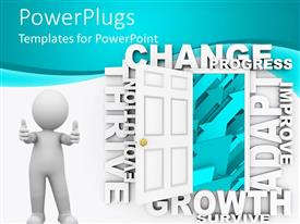 PowerPlugs: PowerPoint template with a person who is happy with a door opened and bluish background