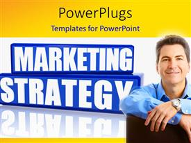 PowerPlugs: PowerPoint template with a person happy because of the marketing