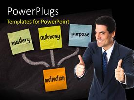 PowerPlugs: PowerPoint template with a person happy because of the motivation to succeed