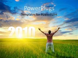 PowerPlugs: PowerPoint template with a person who is happy with a number of clouds in the background