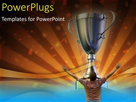 PowerPlugs: PowerPoint template with a person happy on winning a cup with golden background