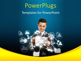 PowerPoint template displaying a person happy working online with bluish background