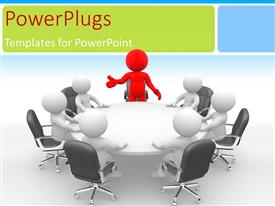 PowerPlugs: PowerPoint template with a person heading the meeting with white background