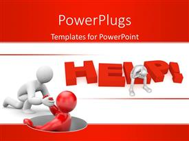 PowerPlugs: PowerPoint template with a person helping the other with reddish and white background