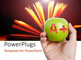 PowerPlugs: PowerPoint template with a person holding the apple with the word A+