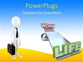 PowerPlugs: PowerPoint template with a person holding the bag with bluish background