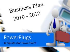 PowerPlugs: PowerPoint template with a person holding the bag and place for text in background