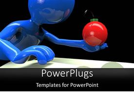 PowerPlugs: PowerPoint template with a person holding the bomb in its hand